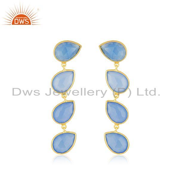 Blue Chalcedony Gemstone Gold Plated 925 Silver Dangle Earrings Jewelry