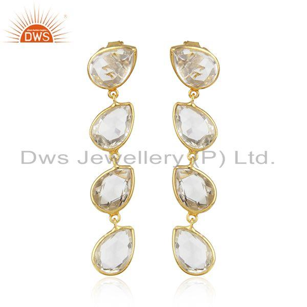 Gold Plated 92.5 Silver Crystal Quartz Gemstone Dangle Earring Jewelry