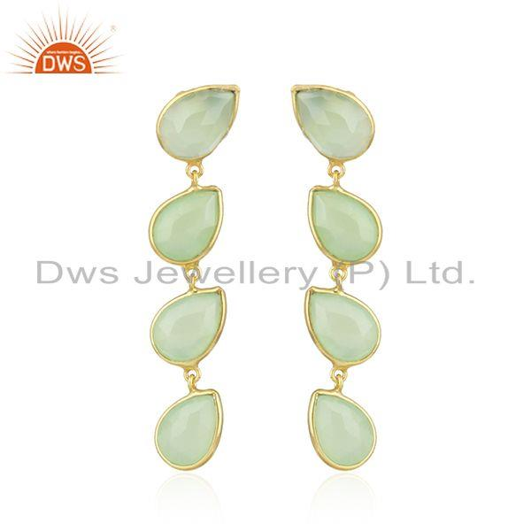 Prehnite Chalcedony Gemstone Gold Plated 92.5 Silver Dangle Earrings