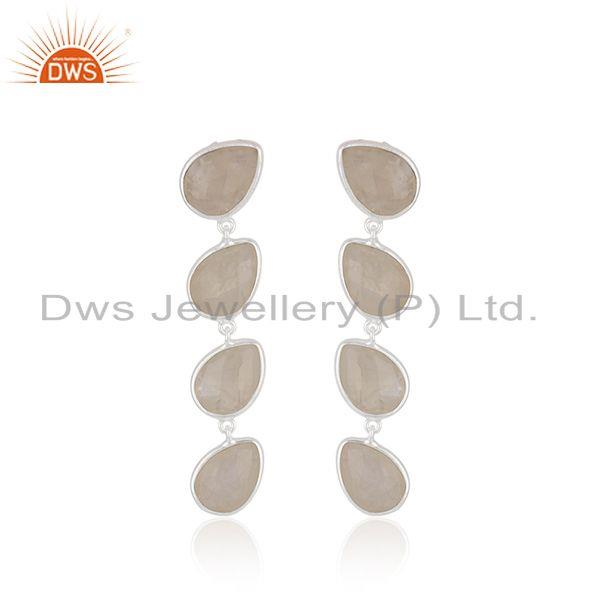 Rainbow Moonstone Fine Sterling Silver Earring Manufacturer India