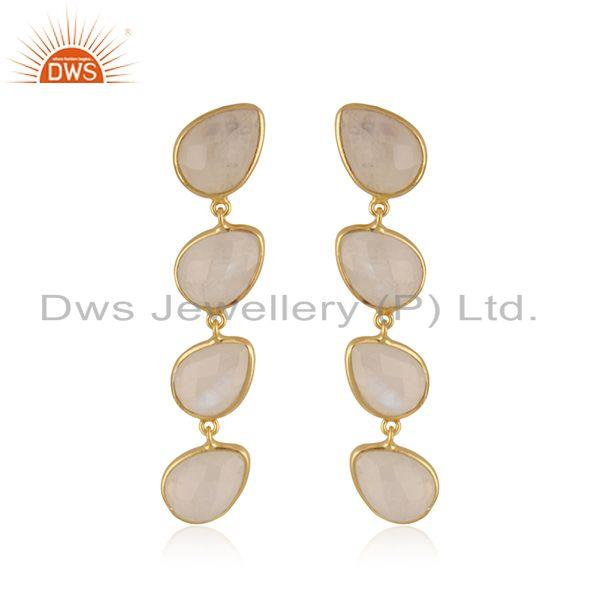 Natural Rainbow Moonstone Gold Plated 92.5 Silver Dangle Earrings Supplier INdia