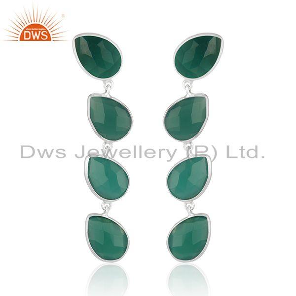 Sterling SIlver Green Onyx Gemstone Earrings Jewelry Wholesale