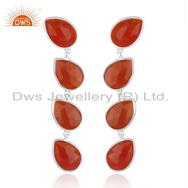 Indian Red Onyx Gemstone Sterling Fine Silver Dangle Earrings Jewelry