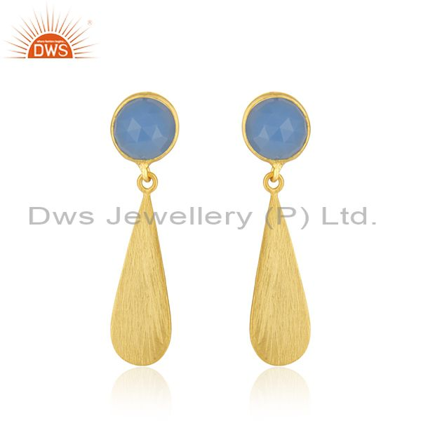 Hanmdade 18k Gold Plated Silver Blue Chalcedony Gemstone Earrings Jewelry