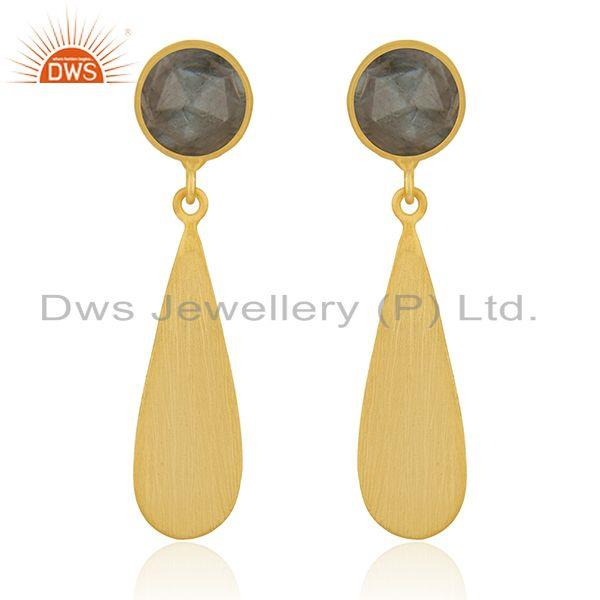 Yellow Gold Plated 925 Silver Labradorite Gemstone Earrings Jewelry