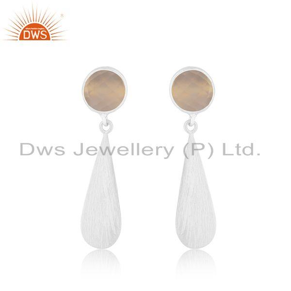 Rose Chalcedony Sterling Fine Silver Earrings Jewelry Wholesale