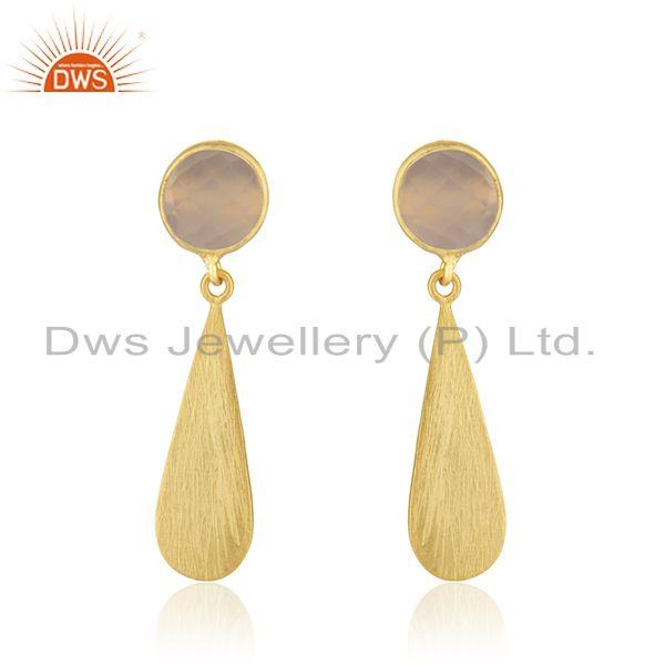Rose Chalcedony Gemstone Gold Plated Silver Earring Jewelry Manufacturer