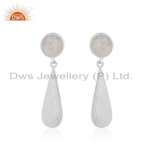 Rainbow Moonstone Wholesale Sterling Silver Designer Earrings Jewelry