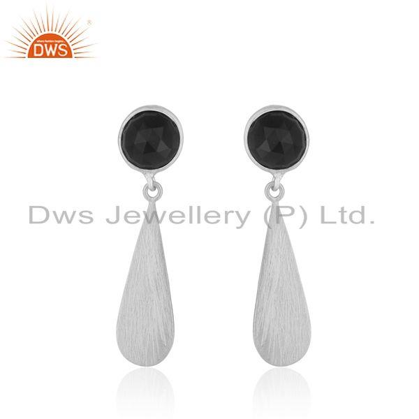 92.5 Sterling Fine Silver Black Onyx Gemstone Earrings Jewelry