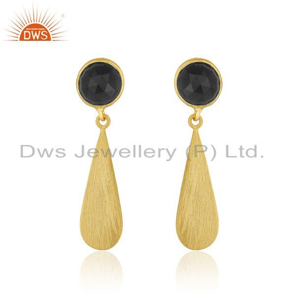 18k Gold Plated 92.5 Silver Black Onyx Gemstone Earrings Jewelry