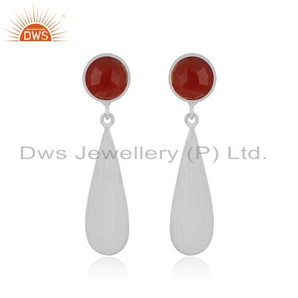 Red Onyx Gemstone 925 Sterling Silver Handamde Earrings Manufacturer INdia