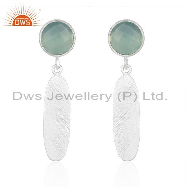 Indian Fine SIlver Designer Aqua Chalcedony Gemstone Earrings For Girls