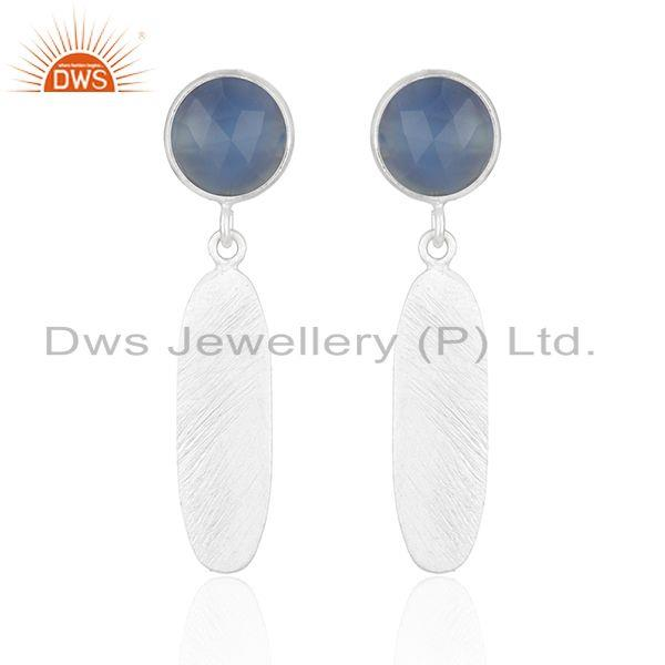 92.5 Sterling Silver Blue Chalcedony Gemstone Earrings Jewelry