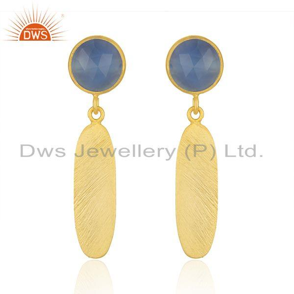 Handmade Gold Plated Silver Blue Chalcedony Earrings Jewelry