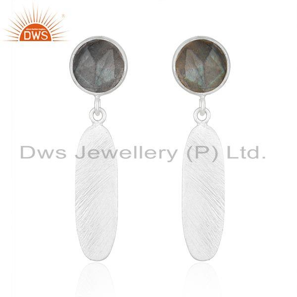 Texture Sterling Silver Natural Labradorite Gemstone Earrings Jewelry