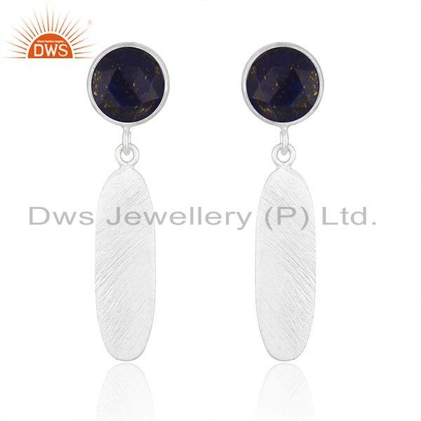 New Arrival Sterling Silver Natural Lapis Gemstone Earrings Jewelry