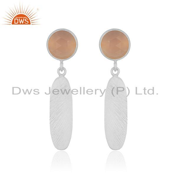 Rose Chalcedony 92.5 Sterling Silver Handmade Earring Manufacturer India