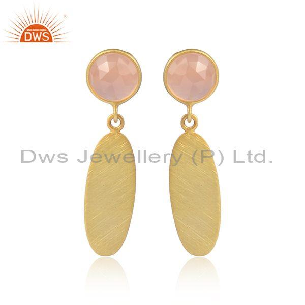 Rose chalcedony set gold on sterling silver fancy earrings