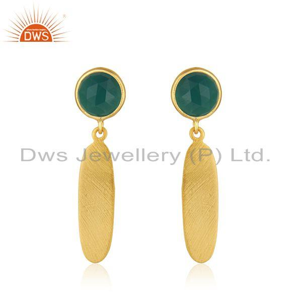 New Designer Gold Plated Silver Green Onyx Earrings Jewelry