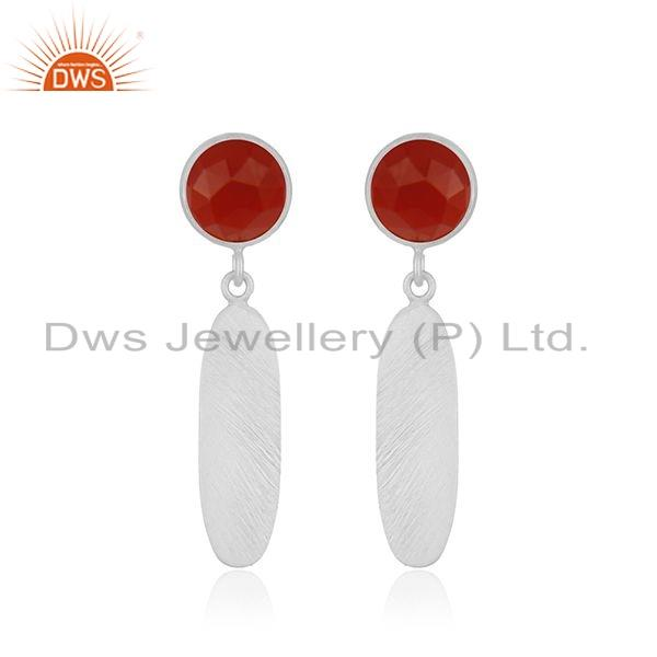 Natural Red Onyx Gemstone Fine Silver Designer Womens Earrings Jewelry
