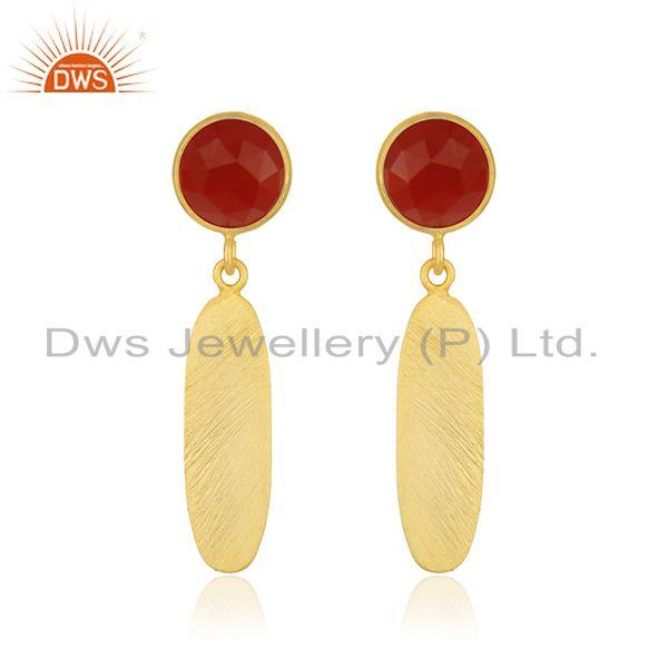 Red Onyx Gemstone 925 Sterling Silver Gold Plated Earring Jewelry Wholesale