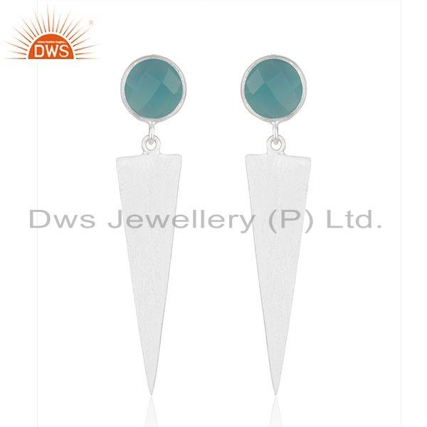 Wholesale Fine Silver Designer Aqua Chalcedony Earrings Jewelry Supplier