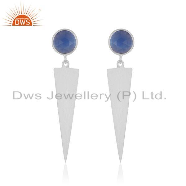 Blue Chalcedony Gemstone Fine Sterling Silver Earring Manufacturer India