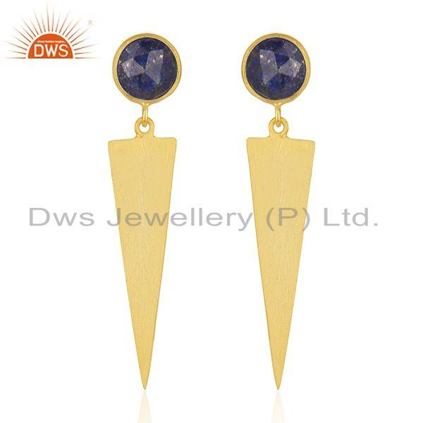 Designer Gold Plated 925 Silver Lapis Gemstone Earrings Jewelry Wholesale
