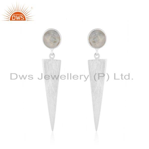 Designer Sterling Silver Rainbow Moonstone Earrings Jewelry