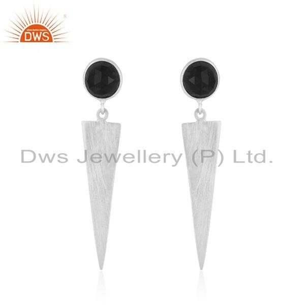 New Designer Fine Silver Natural Black Onyx Earrings Jewelry