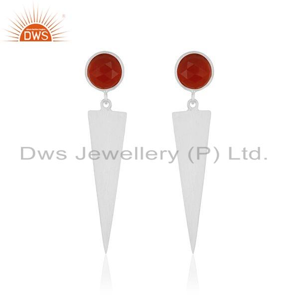 Indian 925 Silver Red Onxy Gemstone Womens Fashion Earrings Jewelry