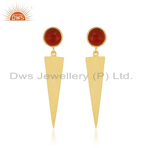 Red Onyx Gemstone Yellow Gold Plated Sterling Silver Earring Manufacturer INdia