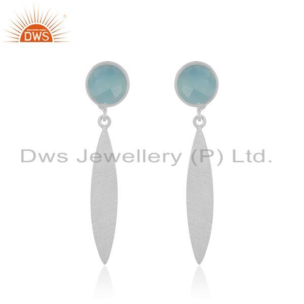 Aqua Chalcedony Gemstone 925 Sterling Silver Dangle Earring Manufacturer India