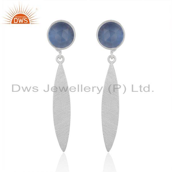 925 Sterling Silver Blue Chalcedony Gemstone Dangle Earrings Jewelry