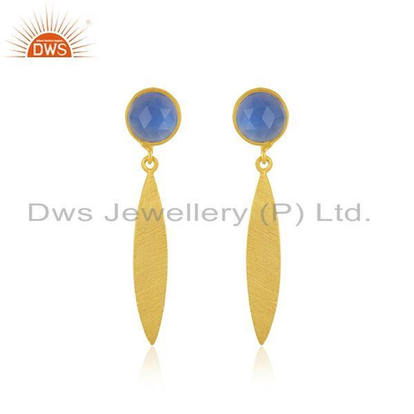 Blue Chalcedony Gemstone Gold Plated 925 Silver Dangle Earring Manufacturer