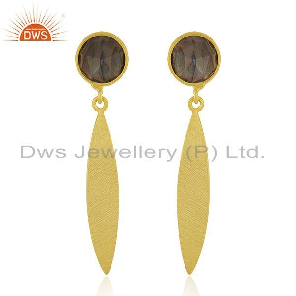 Natural Labradorite Yellow Gold Plated Silver Earrings Gemstone Jewelry