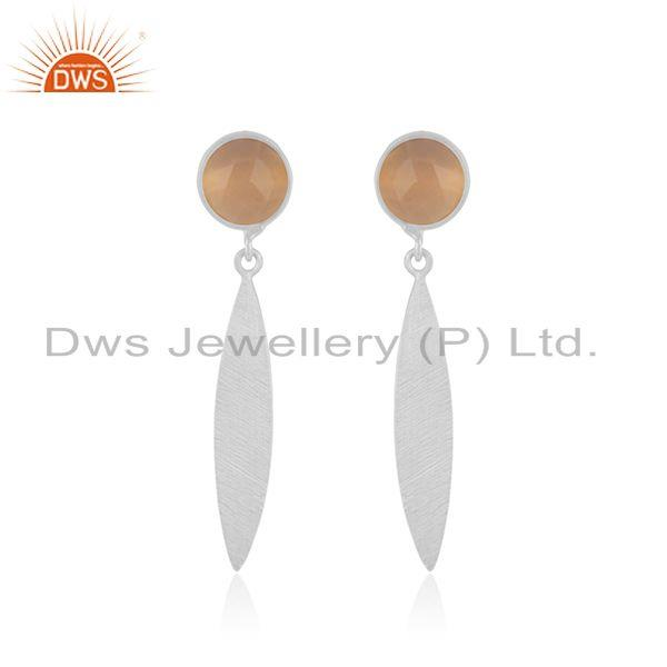 Rose Chalcedony Gemstone 925 Sterling Silver Earrings Manufacturer INdia
