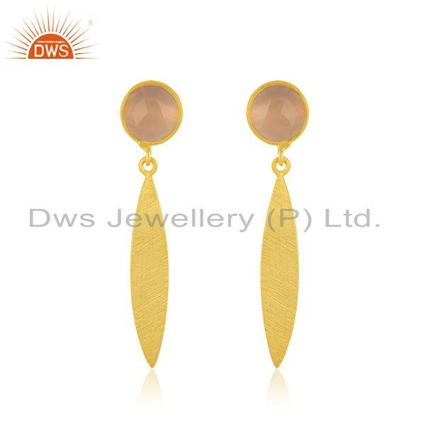 Rose Chalcedony Gemstone 925 Silver GOld Plated Earrings Manufacturer India