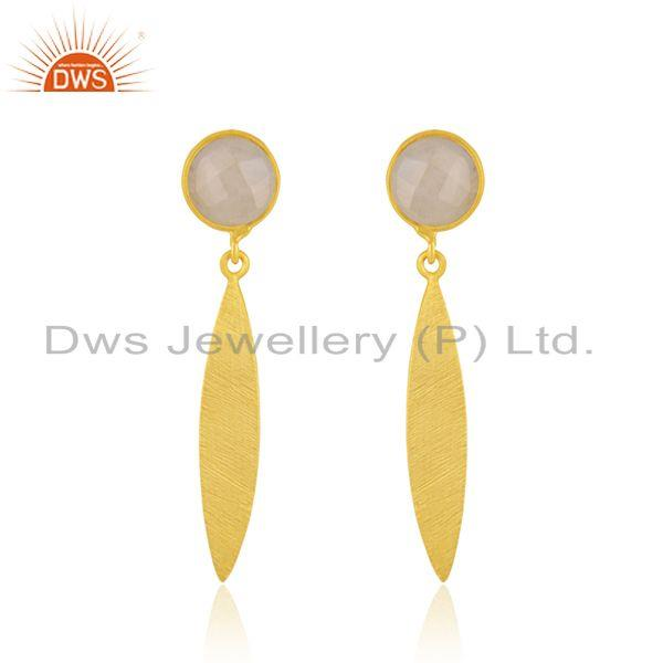 Rainbow Moonstone 925 Sterling Silver Gold Plated Earring Jewelry Manufacturer