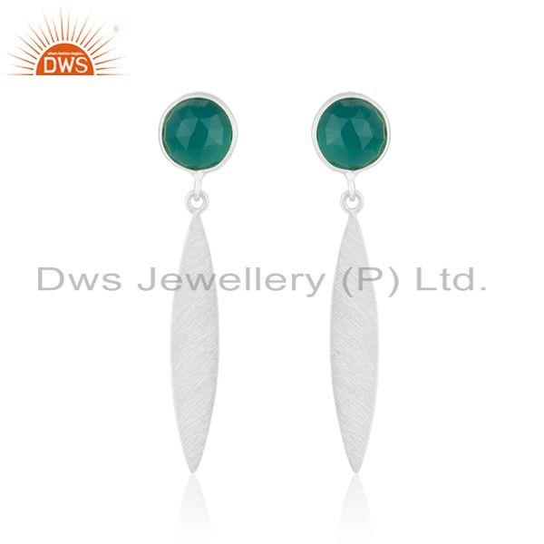 Indian Sterling SIlver Green Onyx Gemstone Designer Earring Jewelry
