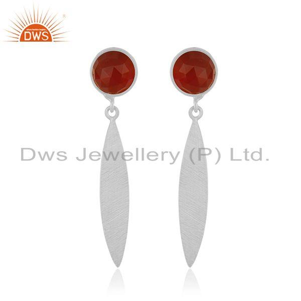 Natural Red Onyx Gemstone STerling Silver Handmade Earring jewelry Manufacturer