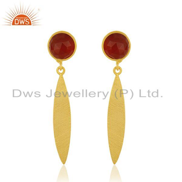 Red Onyx Gemstone Gold Plated 925 Silver Handmade Earrings Jewelry Manufacturer