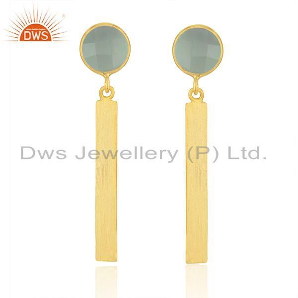 Yellow Gold Plated Silver Aqua Chalcedony Gemstone Earrings Jewelry Supplier