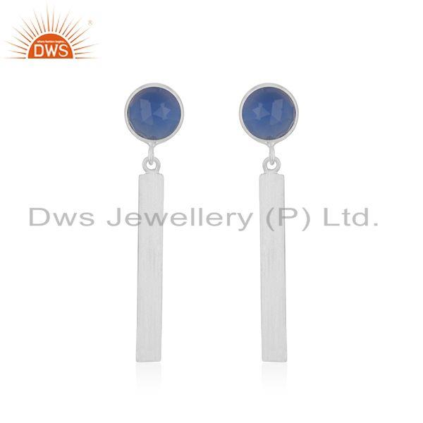 925 Fine Sterling Silver Bar Blue Chalcedony Gemstone Earring Wholesale