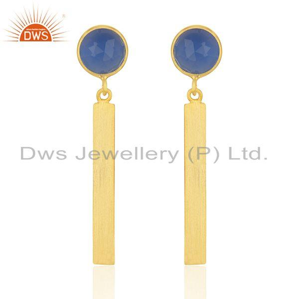 Natural Blue Chalcedony Gold Plated Silver Earrings Jewelry Wholesale