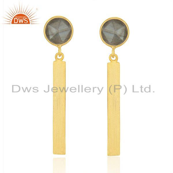 Manufacturer of Designer Gold Plated Silver Labradorite Earrings Jewelry