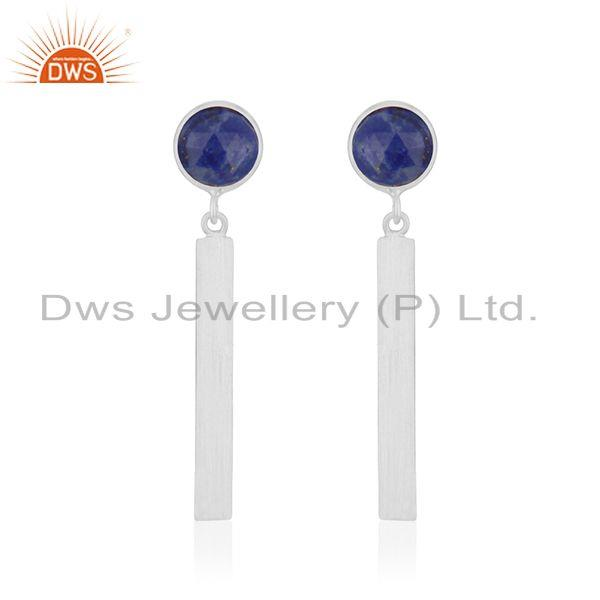 Lapis Lazuli Gemstone Fine Sterling Silver Bar Earring Manufacturer INdia