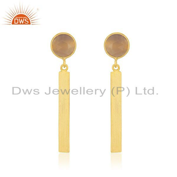 Rose Chalcedony Gemstone 925 Silver Gold Plated Bar Earring Manufacturer India