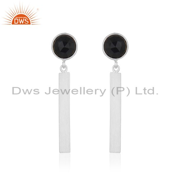 Black Onyx Gemstone Designer 925 Sterling Fine Silver Earrings Jewelry