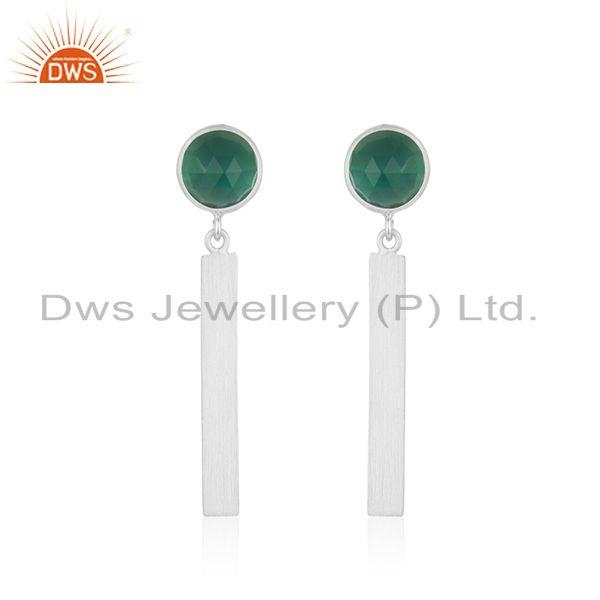 925 Sterling Silver Green Onyx Bar Earrings Jewelry